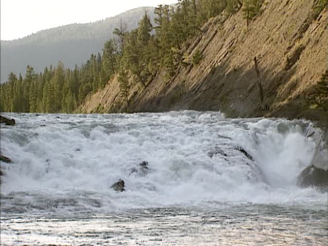Bow Falls in Bow River near Banff in the Canadian province of Alberta - sunrise