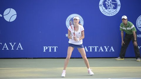 Chonburi, Thailand - FEB 2:Ekaterina Makarova of Russia in her final win over Karolina Pliskova at the PTT Pattaya Open 2014 at Dusit Thani Pattaya on February 2, 2014 in Chonburi, Thailand.