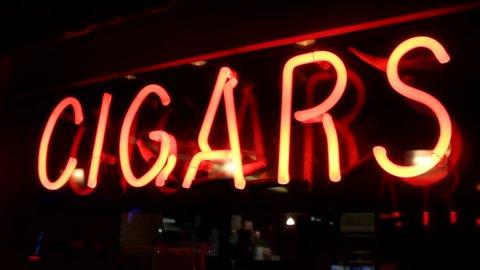 cigar sign in neon