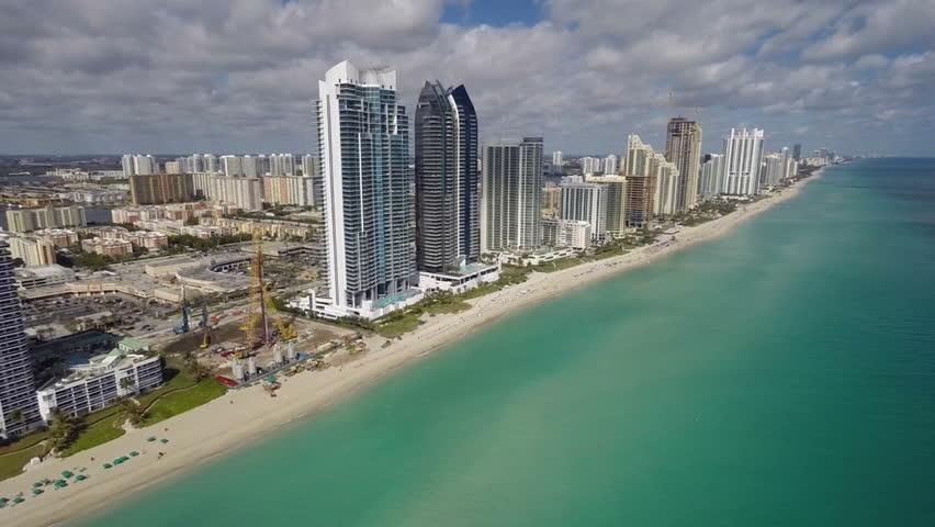 Aerial beach footage of sunny isles beach florida