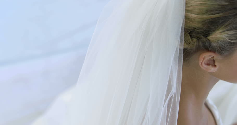 beautiful bride smiling up at camera on her wedding day 4k stock footage clip
