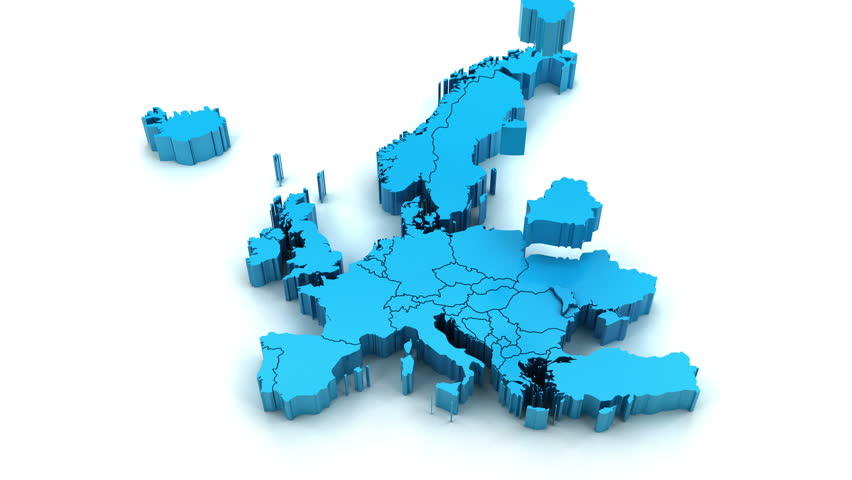 3d animation of Europe map formed by individual countries