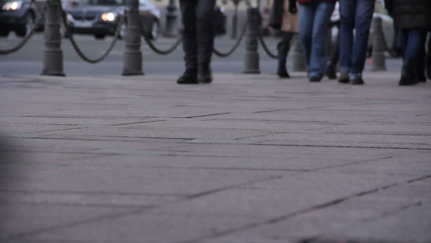Feet of people walking. City rush. St. Petersburg. Russia