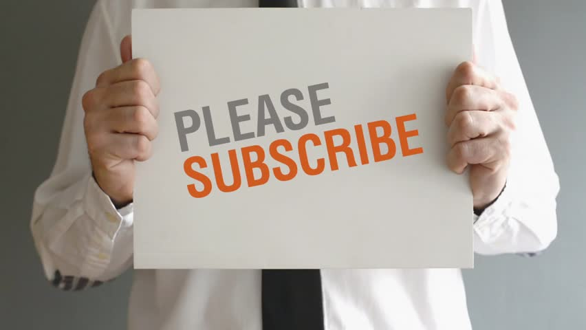 Businessman holding paper with Please subscribe title. Business concept. 1920x1080, 1080p, hd format | Shutterstock HD Video #5718617