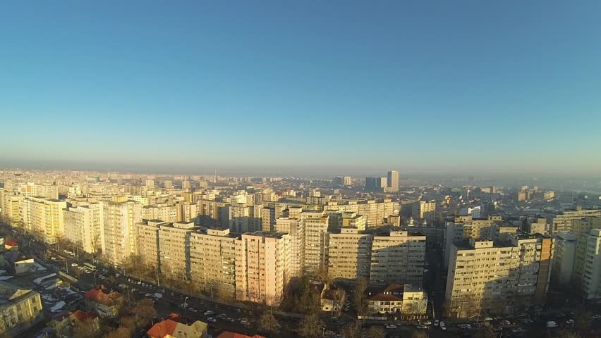 Aerial view of Bucharest, Romania, shot from a drone