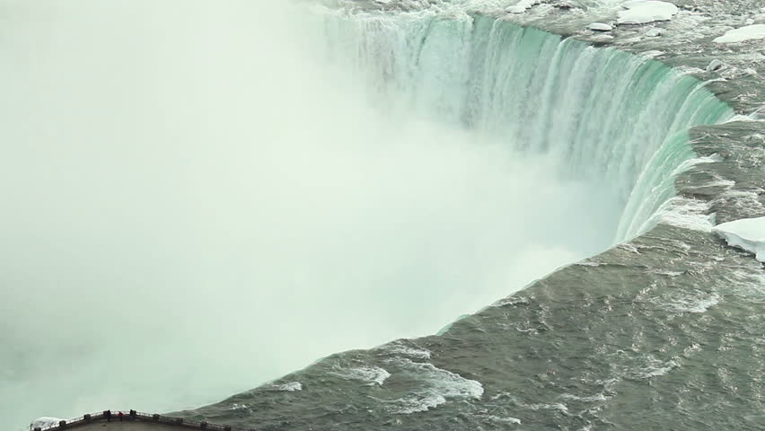 Niagara Falls Winter Edge 3. The Horseshoe Falls section of Niagara Falls during a very cold winter, with heavy snow build up. Tourists visible. | Shutterstock HD Video #5739368