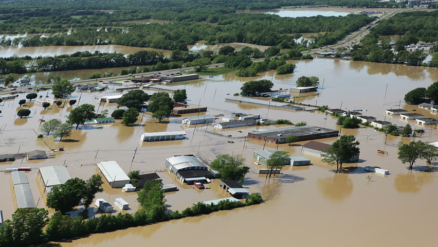 Heavy flooding natural disaster aerial. Perfect for videos about: floods, flooding, rainfall, storms, typhoons, natural disasters, dams, dikes, levees, rivers, hurricane harvey, hurricane irma, irma