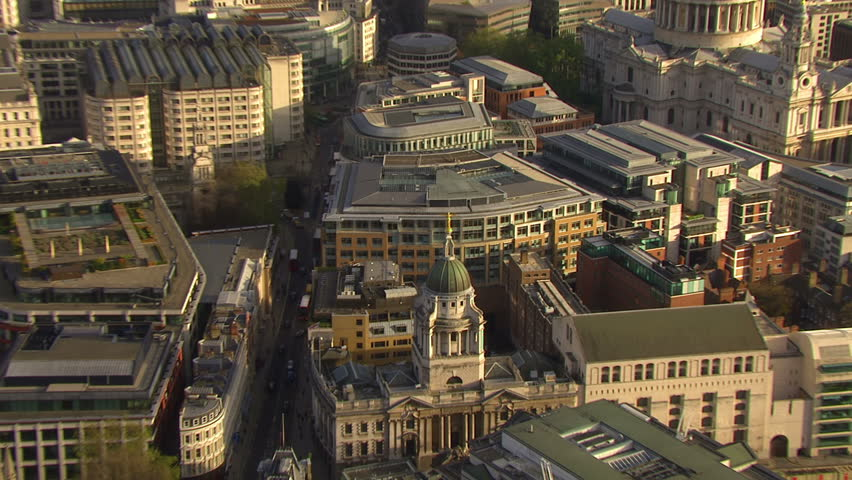 Aerial view of Lady Justice, the statue which resides on top of the famous London criminal court which is more commonly known as The Old Bailey.