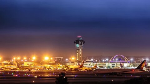 4K. Control tower and airplane traffic in Los Angeles International airport LAX. Timelapse.