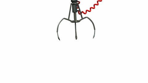 An arcade type robotic claw swinging across the camera and dipping down to pick something up on an isolated white background