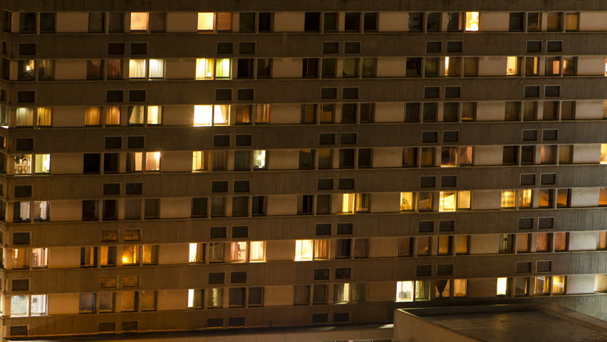 Aerial View Of Apartment Buildings At Night Urban Living