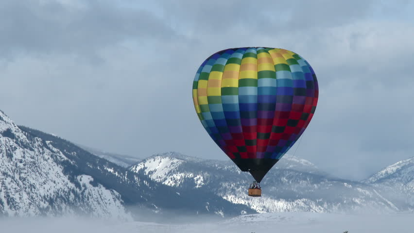 Hot Air Balloons, Mountains, Winter
