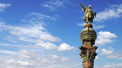 Timelapse of the Christopher Columbus monument pointing towards America in Barcelona, Spain