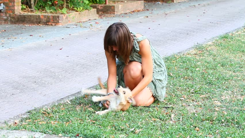 Young Woman Playing with a Dog