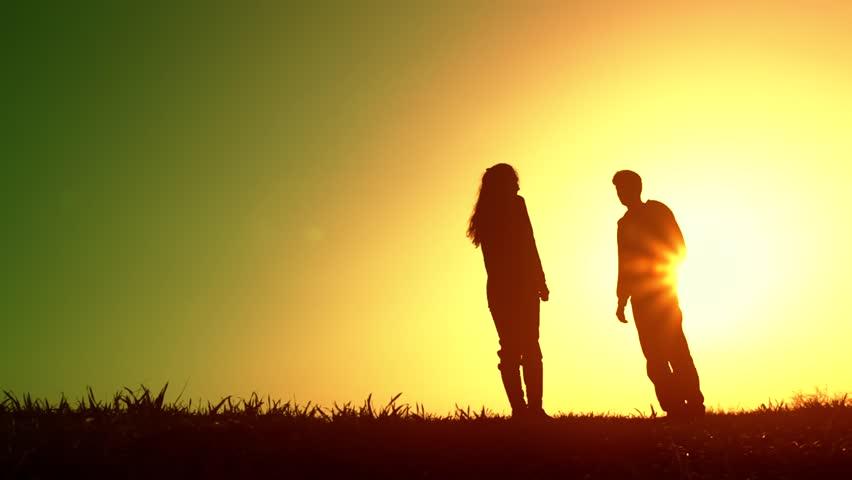 Summer Sunset Couple Sharing Heart Stock Footage Video 100