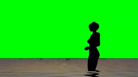 woman on the beach - green screen