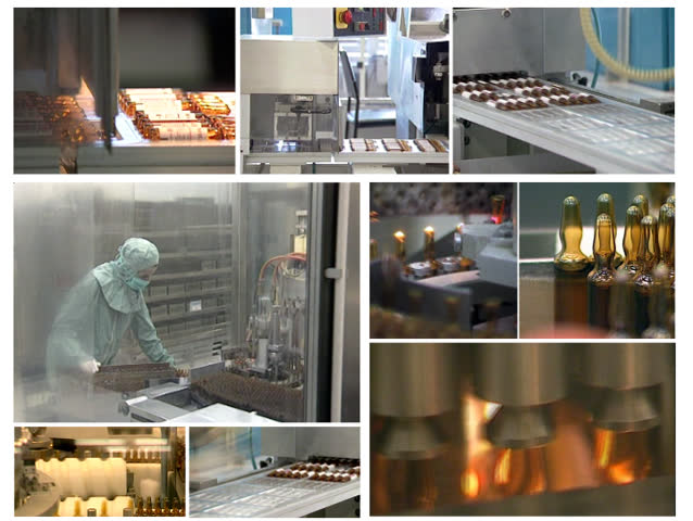 Collage of video clips showing production of vaccines in pharmaceutical factory. Pharmaceutical industry. Medicine manufacturing. Pharmaceutical worker.