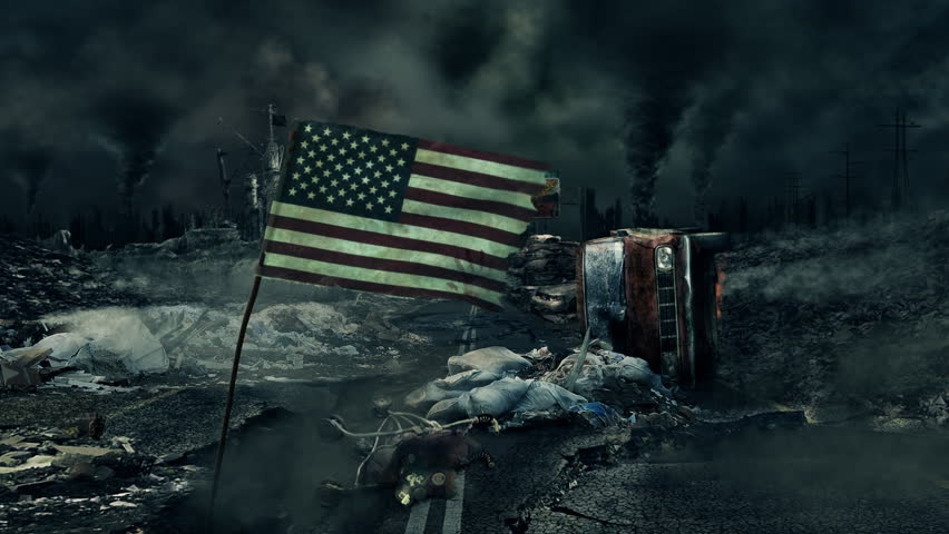Post apocalyptic scene - USA flag