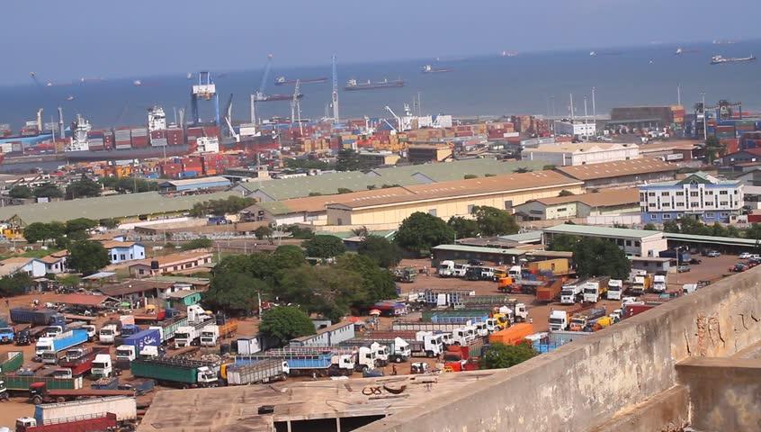 Industrial city, Tema Harbor / port ,Over heard shot, slow pan