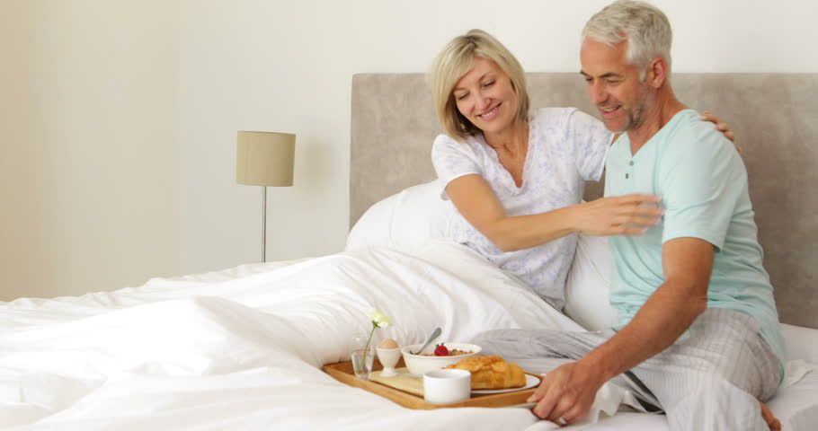 Romantic Husband Bringing His Wife Breakfast In Bed At -5617