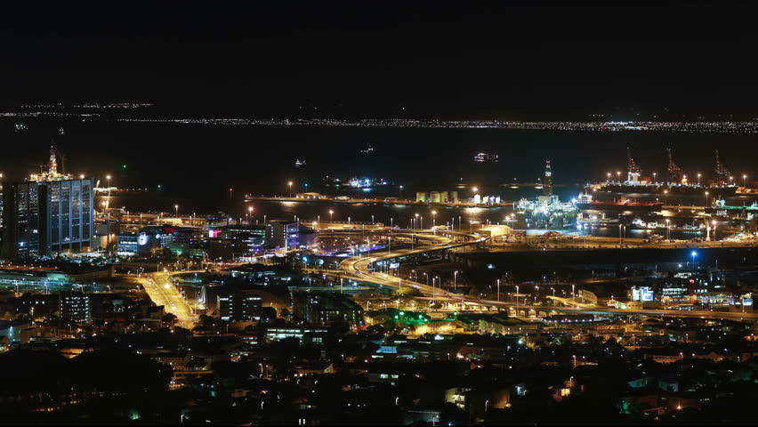 Cape town city overview time-lapse shot during busy night | Shutterstock HD Video #5938847