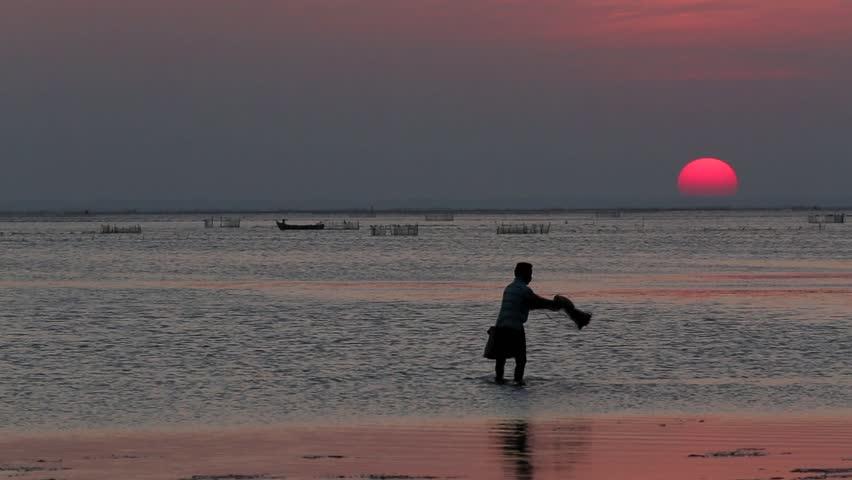 Fisherman throwing his fishing net at sunset in Jaffna, Sri Lanka #5947307