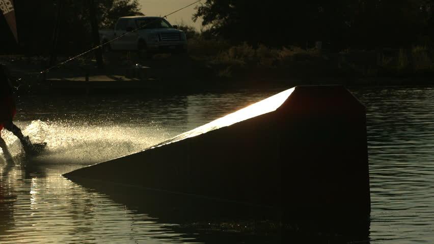 Slow motion shot of man wakeboarding   Shutterstock HD Video #5949797