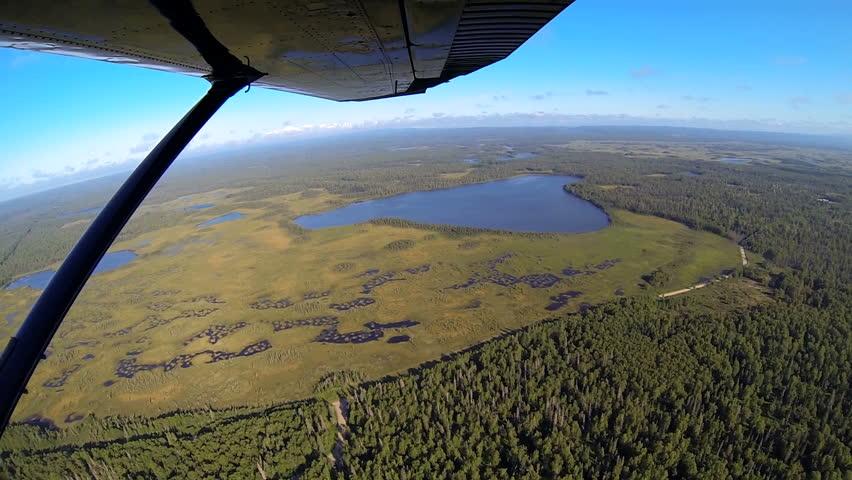 Aerial View Of Melt Water Swampland Remote Alaskan Wilderness Area - Usa northern hemisphere