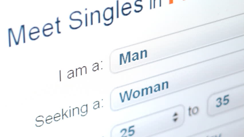 Online dating computer screen concept