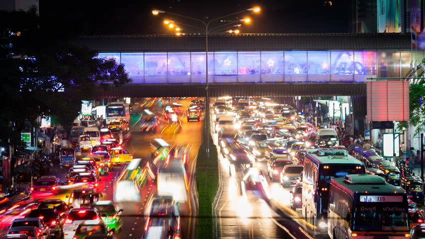 Timelapse view of the traffic in Bangkok, Thailand at night in 4K