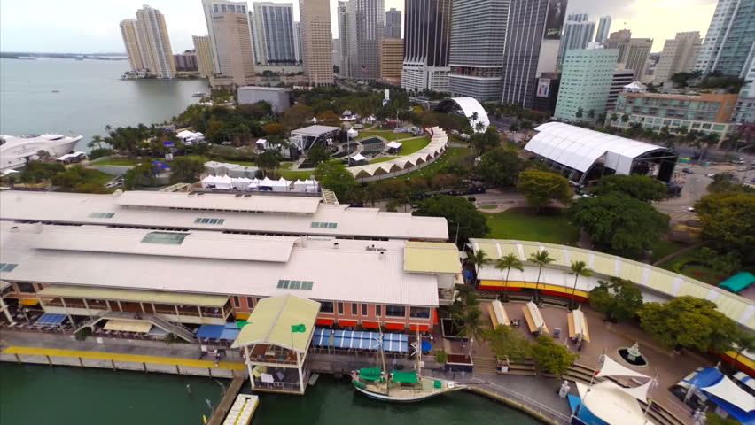 MIAMI - CIRCA 2014 Aerial video setup for the 2014 Ultra Music Festival Downtown Miami