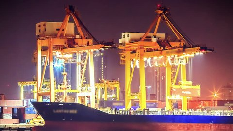 4K: Timelapse Cargo ship loading goods at shipping port, High quality, Ultra HD, 4096x2304