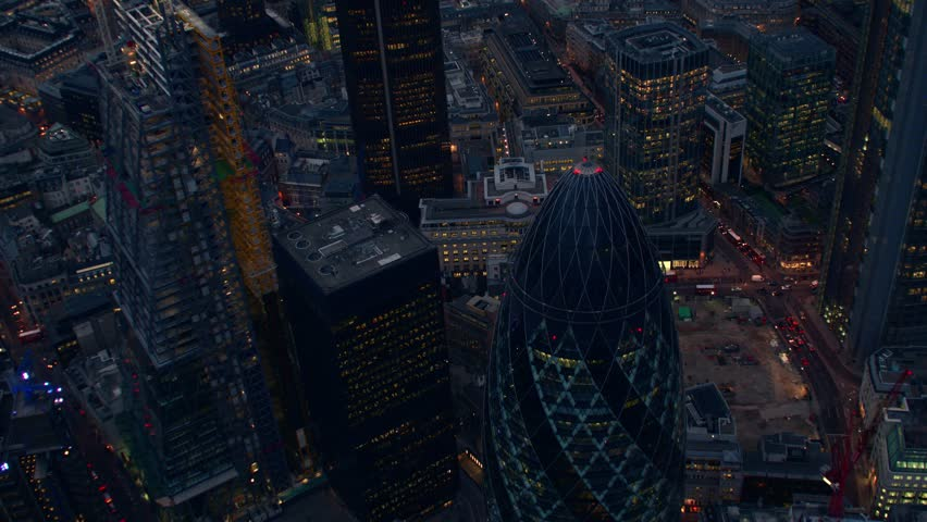 4K Aerial shot of Central London with a flyover view of The City Financial District, Liverpool Street, Gherkin