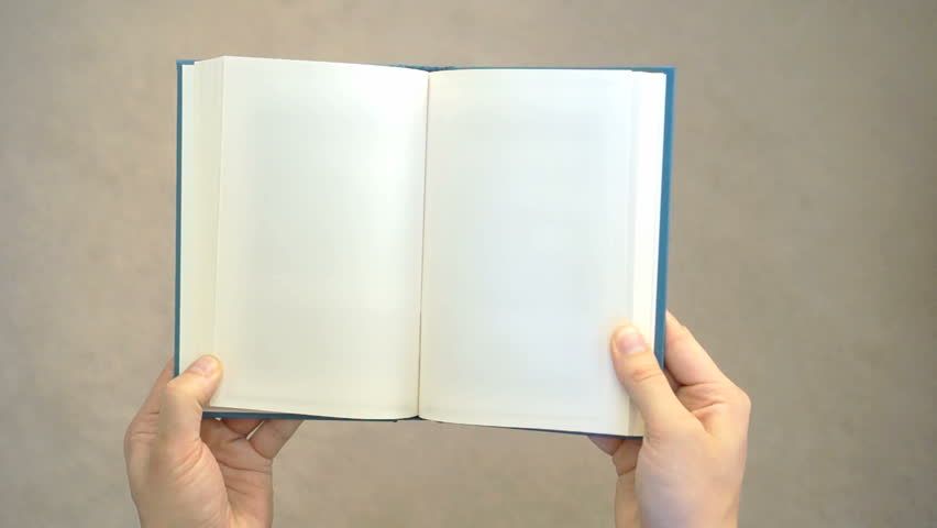 Two hands opening a blank book. Can be used as a blank template. Holding the book with two hands, it is opened and then closed.