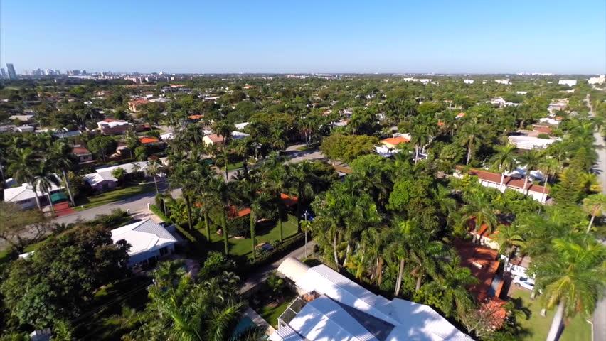 Hollywood Florida waterfront homes aerial flyover