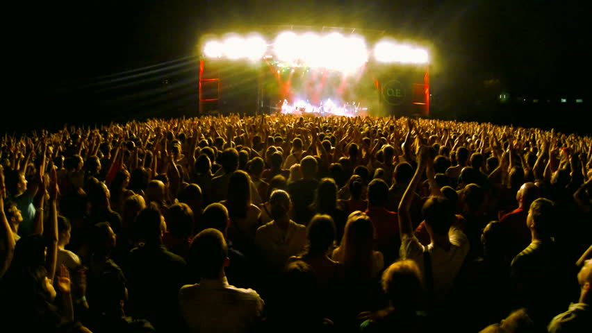 Crowd at a rock concert, back light silhouette  | Shutterstock HD Video #6047387