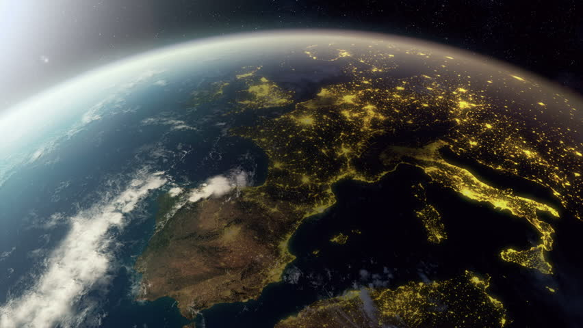 3D animation showing europe from space. As it gets dark you see cities light up. Check out a 4k still here: http://www.lucidpixel.nl/img/Stills/EuropeFromSpace_4K.jpg #6052010