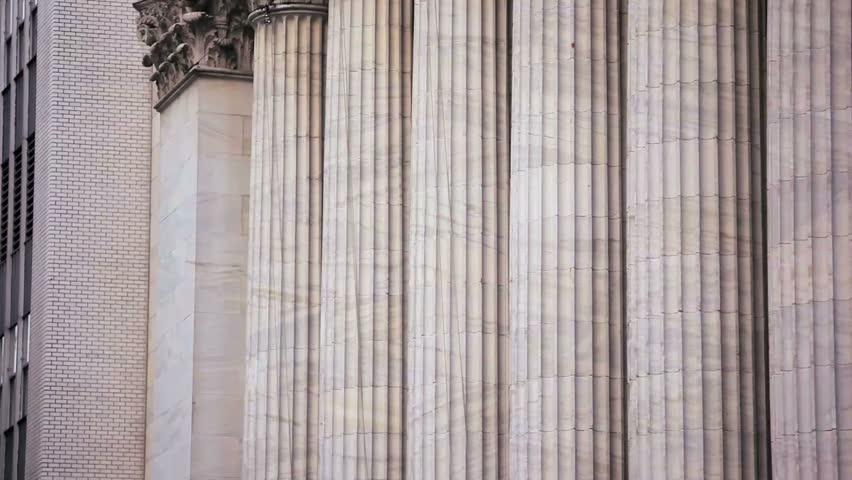 Tilt up shot of the New York Stock Exchange building. | Shutterstock HD Video #6057347