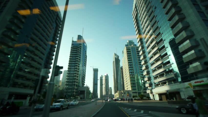 Dubai street view from car