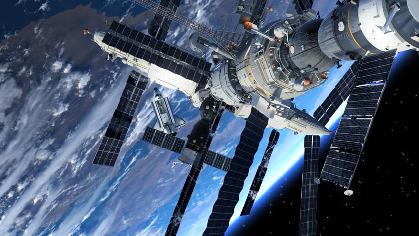Space Station And Space Shuttle Orbiting Earth. 3D Animation. | Shutterstock HD Video #6068675