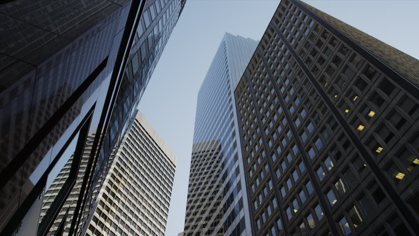 Low Angle View To Light Glass Buildings Of Business Center: Stock Video Of Usa, California, San Francisco, Low Angle