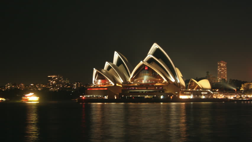 Sydney- March 2014. Time lapse of the Sydney Harbour and Sydney Opera House at night.