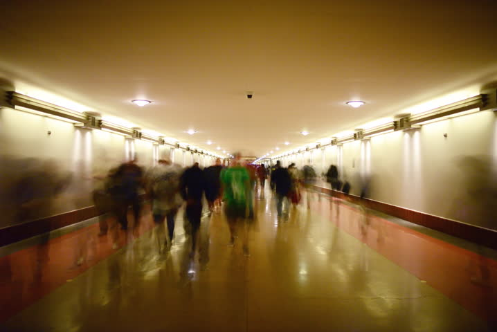 4K Time Lapse of Union Station Hallway with Commuters in Motion Blur -Full Frame-
