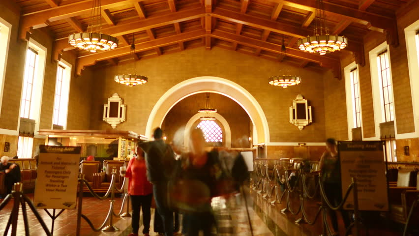 4K Time Lapse of Historic Union Station in Los Angeles with Commuters in Motion Blur -Close Up-