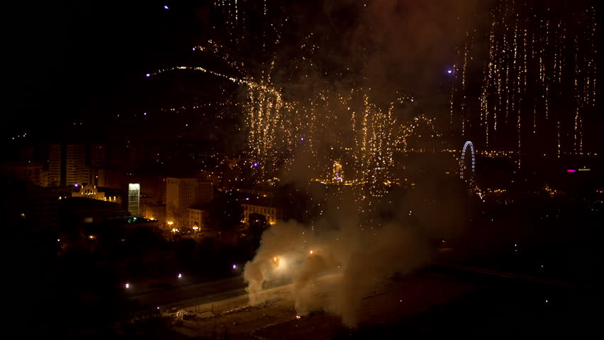 colourful fireworks display during las fallas festival in valencia, spain