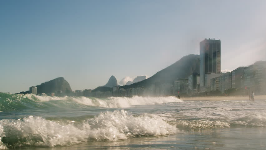 Footage of the Atlantic Ocean charging into the shoreline - Rio de Janeiro, Brazil.
