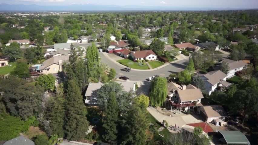 Aerial view of a residential neighborhood