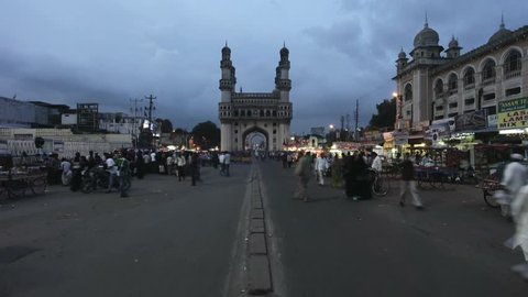 INDIA - September 2011: Tilt up shot of Charminar, Hyderabad, Andhra Pradesh, India
