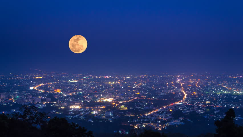 Time Lapse Big Full Moon Moving Over Downtown  | Shutterstock HD Video #6131936