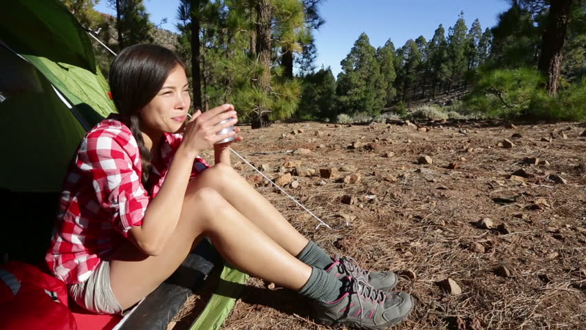 C&er Woman C&ing Drinking Coffee Hot Drink At C&site Relaxing Sitting In Tent In Forest. Beautiful Young Smiling Happy Mixed Race Asian Caucasian ...  sc 1 st  Shutterstock & Camper Woman Camping Drinking Coffee Hot Drink At Campsite ...